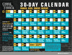 core de force calendar, core de force schedule, beachbody on demand