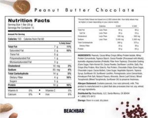 beachbar nutrition label, beachbar nutrition facts, beachbar facts, beachbar label, peanut butter chocolate